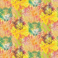 Tiger and plant leaves seamless pattern vector
