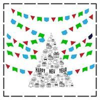New Year. Vector greeting card,bunting and garland set