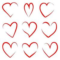 Set of red thin outline handdrawn hearts vector