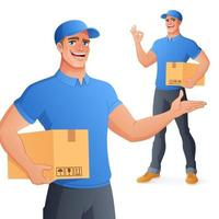 Courier delivery man holding box showing OK vector illustration