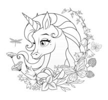 Beautiful unicorn surrounded with flowers vector coloring page