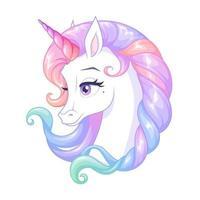 Hermoso unicornio blanco con ilustración de vector de cuerno rosa