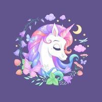 Unicornio durmiendo con flores y mariposas ilustración vectorial vector