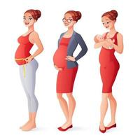 Pregnant working woman measuring belly mother with newborn vector set