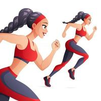 hermosa mujer atlética corriendo ilustración vectorial vector
