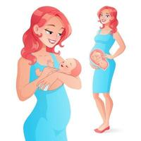 Pregnancy and mother with newborn baby vector illustration
