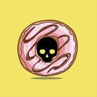 Sweet Skull Donuts Hand Art vector