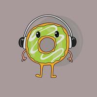Cute head phone Donuts vector