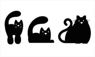 cat silhouette set illustration vector