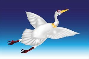 flying swan cartoon illustration vector
