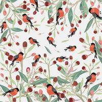 Orange bird in red flower with green leaf pattern vector