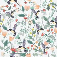 Hummingbird in tropical flower garden vector