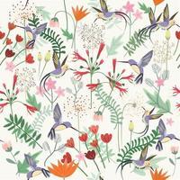 Violet hummingbird in fantasy forest seamless pattern vector