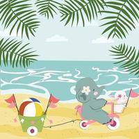 Cute baby elephant having fun on summer beach vector