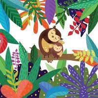 Cute cartoon mom and baby owl in colorful  forest vector