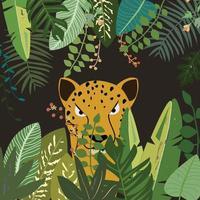 Leopard in green leaf frame vector