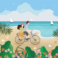 A Lover riding a bicycle on summer beach vector
