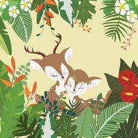 A couple deer in botanical tropical forest vector