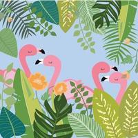 pink flamingo in green leaf frame vector
