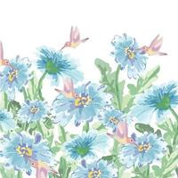 Water color humming bird and blue blossom garden vector