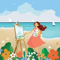 Lovely woman drawing on summer beach vector