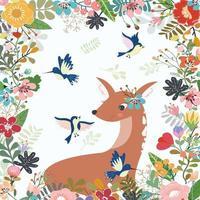 Lovely deer in flora frame.eps vector