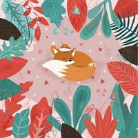 Cute mom and baby wolf fox in leaf frame vector