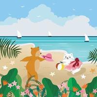 Cute teddy bear and kitty cat having fun on summer  beach vector