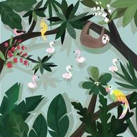 animal in greenery tropical forest vector