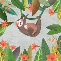Cute  mom and baby sloth in green leaf and orange flower frame vector