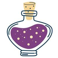 Bottle with potions. Magic elixir. Love potion. vector