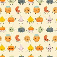 Seamless pattern with Cute different pumpkins kawaii character vector