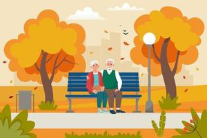 elderly couple sitting on the bench in park in fall. Vector