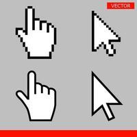 Flecha blanca y puntero de mano, cursores de píxeles, ilustración vectorial vector