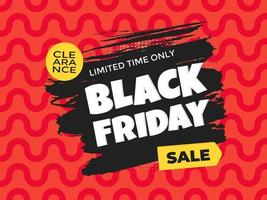 Black Friday sale discount clearance banner with brush stroke template vector