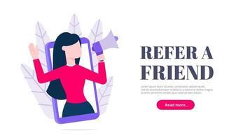 Refer a friend flat style design vector illustration concept.