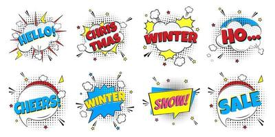8 Comic Winter Lettering In The Speech Bubbles Comic Style Flat Design vector