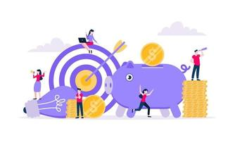 Fundraising composition concept of crowdfunding. vector