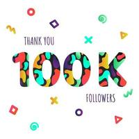Thank you 100000 followers numbers postcard. vector