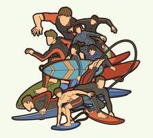grupo de deportes de surf hombres jugadores acción vector