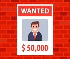 a poster with an advertisement for the wanted young man. vector