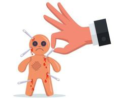 stick needles into a voodoo doll. perform a magic rite. vector