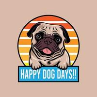 Happy dog days pug dog smiling concept vector illustration isolated