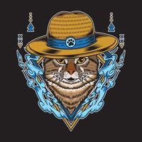 Cat wearing straw hat and have water element vector illustration