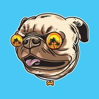 Pug dog wearing summer sunglasses isolated on background vector