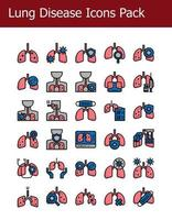 filled outline lung disease icons pack vector