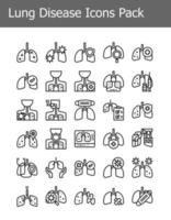 simple line lung disease icons pack vector
