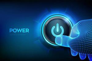Power button. Closeup finger about to press a power button. vector