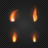 Fire flames set realistic vector illustration