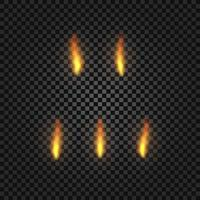 Set of realistic fire. Vector illustration